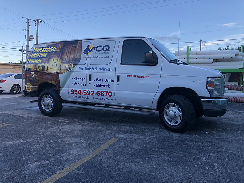 commercial van wrap, vehicle wraps miami, fleet wraps miami, furniture van partial wrap