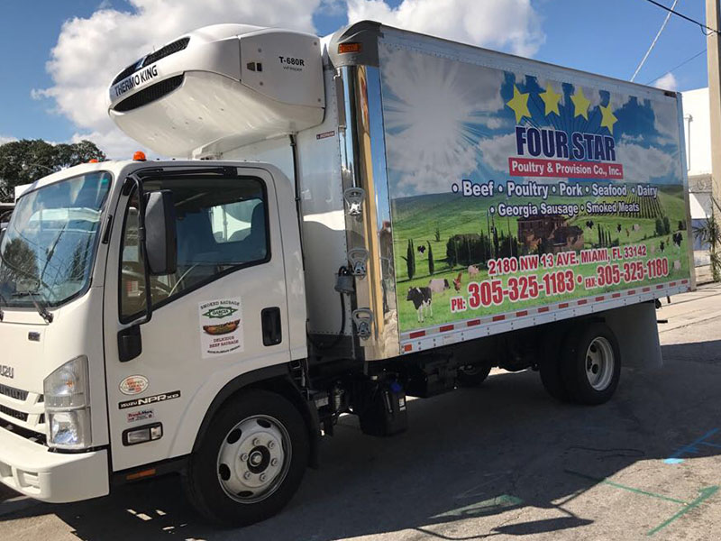 four star poultry provision truck full wrap, trailer signs miami, truck signs miami
