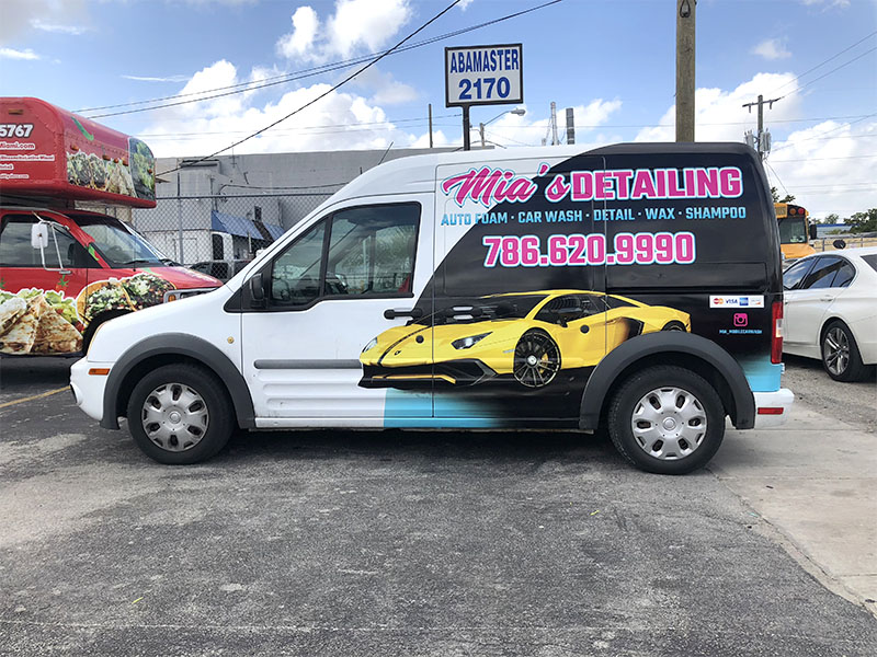 mobile carwash partial wrap, transit connect full wrap