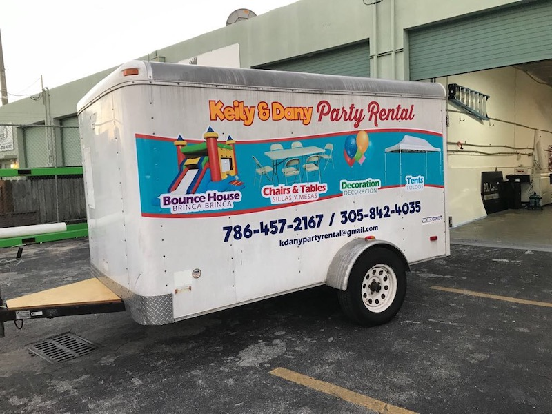 Party Rental Trailer Full Wrap, APA films, car wrapping, graphics miami