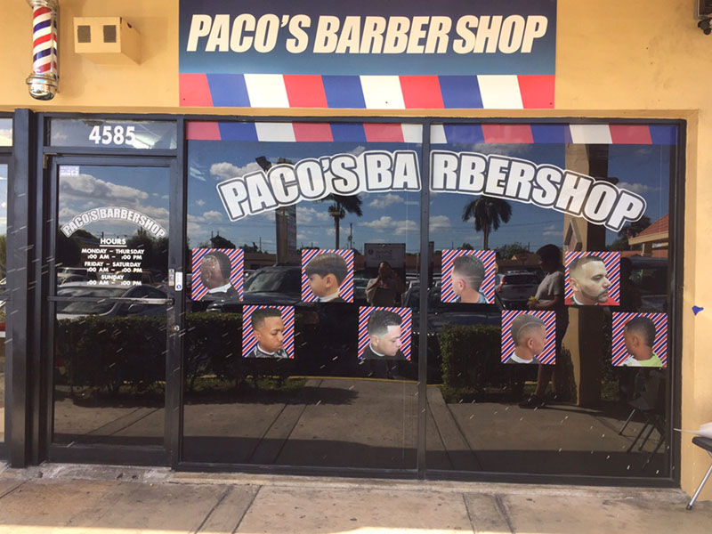 Paco's barber shop front-Store windows microperfored