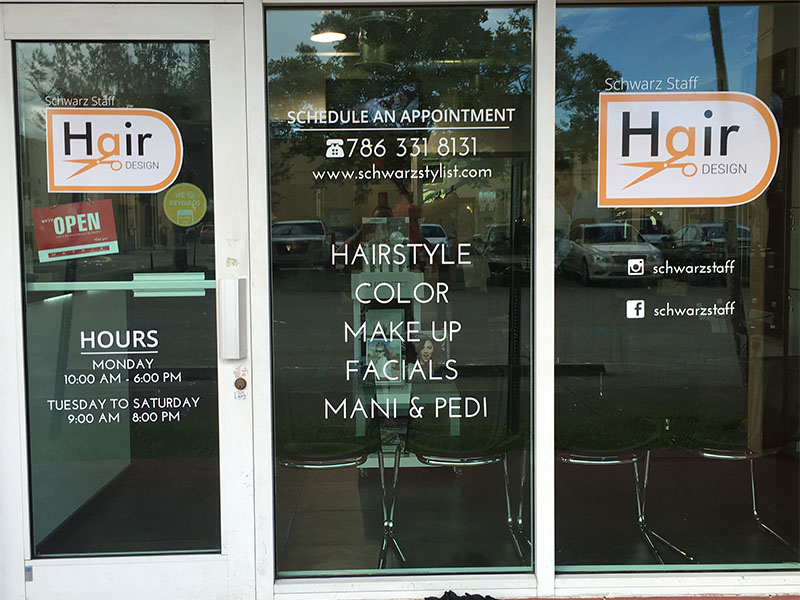 Hair Salon Store Front Graphics