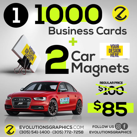 special 1000 business card, 2 car magnets $85