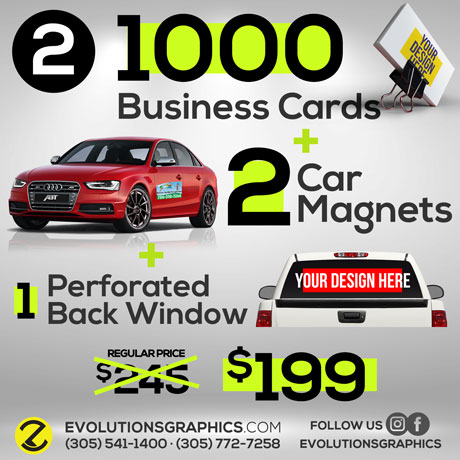 special 1000 business card, 2 car magnets, perforated back window $199