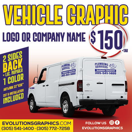 special vehicle graphics, logo or company name $150
