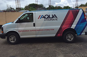 Aqua hydrate full wrap miami Car Wrap, custom car wrap, Miami vehicle graphics, vinyl car wrap