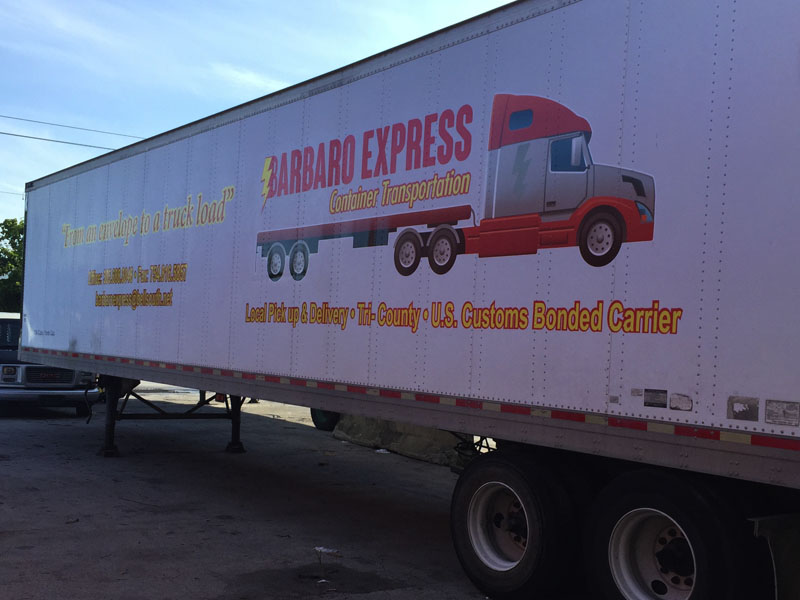 Barbaro Express 46' feet truck logo graphic and lettering