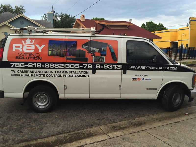 Rey Wiring Solution custom car wrap, Miami vehicle graphic